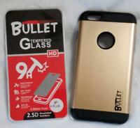 GOLD IPHONE6 PLUS BULLET CELL PHONE CASE & IMPACT RESISTANT PROTECTIVE GLASS