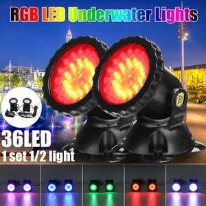 1/2X RGB LED Unterwasserstrahler Teichlampen Schwimmbad Brunnen Beleuchtung DE