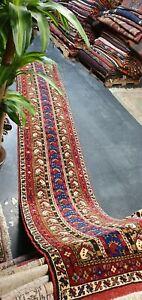 """Rare  Antique Cr1930-1939's Natural Dye Wool Pile Oushak Runner Rug 2'5""""×13ft"""