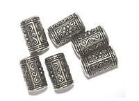 15mm Eastern Decorative Column Antiqued Goldtone Metalized Metallic Beads