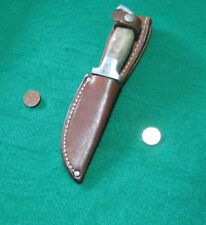 Vtg Sheath Hunt Blade EARLY 1 Pin R. H. Ruana Stag Knife 2 old buck leather case