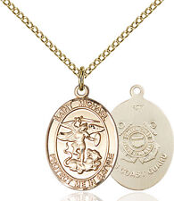 14K Gold Filled St Michael The Archangel Coas Military Catholic Medal Necklace