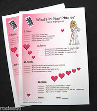 BRIDAL SHOWER/HENS NIGHT - WHAT'S IN YOUR PHONE? GAME - 20 CARDS INCLUDED