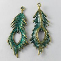 Green Bronze Peacock Feather Alloy Pendants Charms Crafts Findings 10pcs 52012