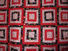 NEW Handmade Queen/King Pink & Black Patchwork Quilt Walk Around the Block