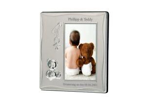Baby Bilderrahmen mit Namen versilbert Fotorahmen Ultraschallbild mit Gravur