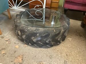 Old Tractor Tyre Garden Coffee Table with Glass Top