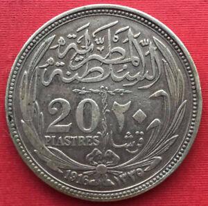 EGYPT , 20 PIASTRES HUSSEIN KAMIL 1916 ( CUSA42 ) , SCARCE