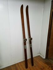 """New listing Vintage Mw Montgomery Ward Maple Wooden Snow Skis, 76"""" Long, 6-6, 1940's-1950's"""