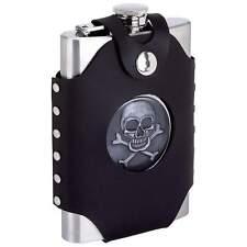 WHOLESALE LOT 4 NEW Black Wrap Stainless Steel FLASK SKULL CROSS BONES Belt 8 oz