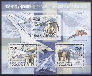 Togo  4257 - 4259 KB / Sheet **, Überschallflugzeug Concorde (11 ME)