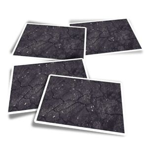4x Rectangle Stickers - Cracked Black Tarmac Road Travel  #44737