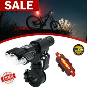 LED Akku Fahrrad Licht Beleuchtung Set 500 LUX Scheinwerfer Rücklicht Lampe DHL