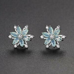 Rhodium Silver Plated Blue Clear CZ Cubic Zirconia Modern Flower Stud Earrings