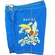 Vtg 90s POLO RALPH LAUREN Swim Trunks USN-RL Blue Embroidered Bird Eagle 32