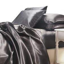 Charcoal Grey Satin Sheet Set QUEEN Size Soft Silk Feel Bedding 4pc Bed Linen