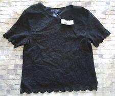 Preston & York Lace black Shirt Top Blouse M NWT $44 -a8