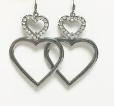 NEW GUESS HEMATITE GRAY,DOUBLE HEART,CRYSTALS DROP EARRINGS