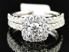 Ladies 14K White Gold Diamond Solitaire Halo Engagement Wedding Bridal Ring Set