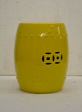 New Asian Chinese Porcelain Garden Patio Sitting Stool Side Table Stand Yellow