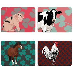 Farm Animals Table Mats | Leslie Gerry, Set of 4, Non-Slip, Placemats