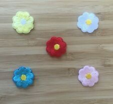 Flower Daisy Red Blue Yellow White Pink 2cm Iron on Motif Patch Child or Adult