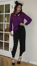 VTG 60s PURPLE Sheer Chiffon pussy bow HIGH Neck button down blouse