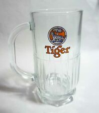 "Tiger Beer Vintage Ribbed Mug Glass Handle Singapore 5.5"" Tall Nut Base Rare"