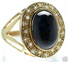 Gold Over Solid 925 Sterling Silver Black Onyx Cabochon & Clear CZ Ring Size-6 '