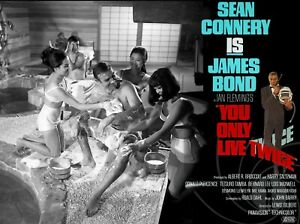 """YOU ONLY LIVE TWICE commercial quad poster 30x40"""" StyleA Sean Connery James Bond"""