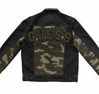 NWT GUESS Dillon Varsity Black Denim Jacket With Camo Size M