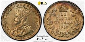 1929 Canada 10 Cents PCGS AU58 Lot#G465 Silver!