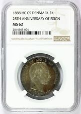 1888 HC CS Denmark 2 Two Kroner 25th Ann. Silver Coin - NGC MS 62 - KM# 799