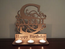 Personalised Tea Light Holder MDF stand Monogram Capital Letter with Name