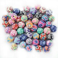 2X(50 pcs Clay Beads DIY Clay Beads Floral Artisan Rounds 10 mm R7B7)