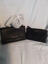 Michael Kors 35S9GTVC3L  Jet Set Travel Clutch Leather Crossbody Bag - Black