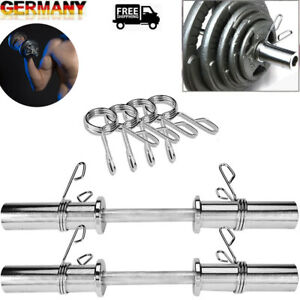 1Pair Barbell 20 Olympic Dumbbell Handles w/4Spring Clamps Home Gym Fitness DHL