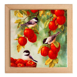 """8x8"""" Square Trivet with Apples Print. Hot Plate / Kettle Stand Table Decor"""