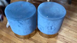 modern Blue & GOLD velvet bench vanity seat stool footstool ottoman Decor Accent