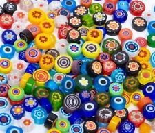 1/4 LB Assorted Italian Glass Millefiori Flowers Lot Have No Holes Neat