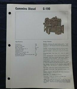 """1966 GENUINE CUMMINS """"C-190 DIESEL ENGINE"""" SPECIFICATION BROCHURE"""