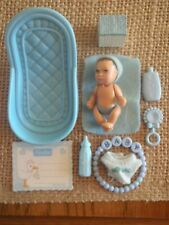 "Barbie Happy Family Newborn Baby 2"" Boy Blue Bathtub & Accessories 1-1"