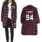 KPOP BTS Merchandise Red Plaid Shirt Jimin Bangtan Boys Long Sleeve T-shirt Suga