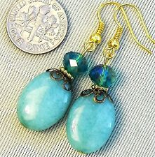 "FREE SHIP Teal Crystal & Oval Blue Green Jade Pierced Earrings 2"" Long Gold tone"