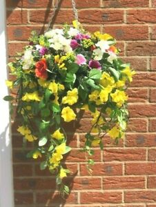 Large Hanging Basket with Artificial flowers trailing morning glory and poppy's