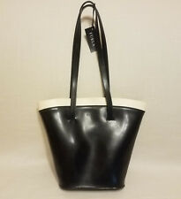 Furla Black Leather Bucket Handbag Purse Shoulder bag w/ Ivory/Cream Trim