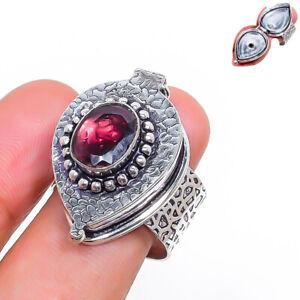 Amethyst Gemstone Ethnic Handmade Gift Jewelry Poison Ring Size 8.5 K574