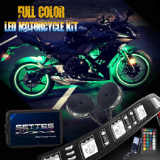 18 Colors Custom LED Motorcycle Under Glow Accent Neon Light Kit 10 Strips 2 Pod