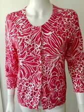 NewTalbots Womens Pink & White Floral 3/4 Sleeve Cardigan Sweater Sz Petite M