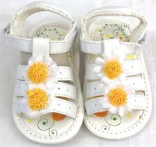 Aadi Billy 763 Baby Toddler Girls White Sandals Shoes Sz 2 Yellow Daisy Flowers